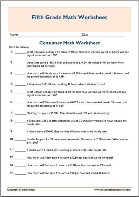 Consumer Math Worksheets Shopping  Consumer Math Spending Money Worksheets Lesson Plans
