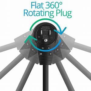 Maximm Cable 1 Foot 360 U00b0 Rotating Flat Plug Extension Cord