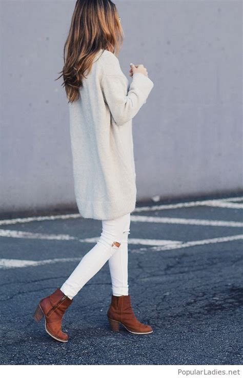white pants sweater  brown boots