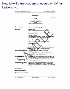 how to write an academic resume for college With how to write an academic cv