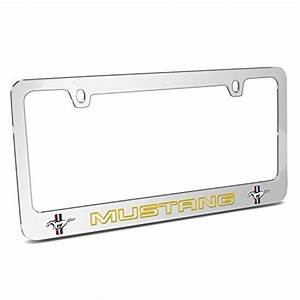 Ford Mustang Outline in Yellow Dual Logos Chrome Metal License Plate Frame - Walmart.com ...