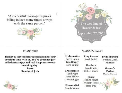 wedding program templates   customize