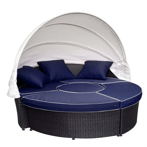 all weather wicker sectional daybed blue cushions