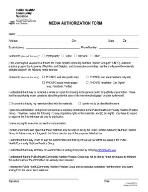 Media Authorization Form by Fillable Media Release Consent Form Template Edit Print