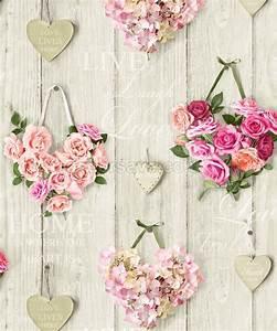 Love lives here hearts wallpaper (pink) - The Shabby Chic Guru