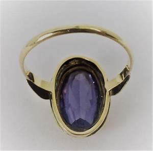 Bague Avec Pierre Bleu : bague en or avec pierre bleu violet catawiki ~ Melissatoandfro.com Idées de Décoration
