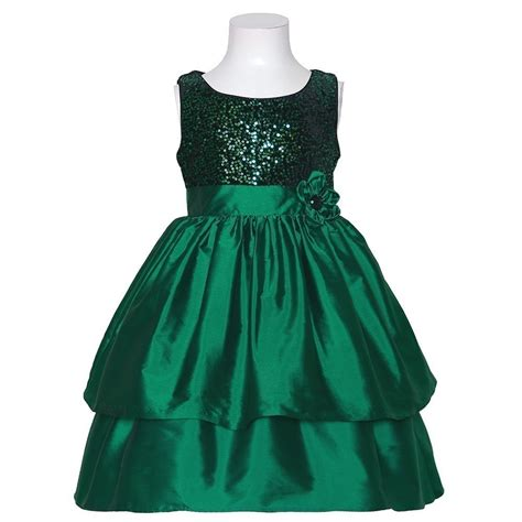 bonnie jean green sequin sleeveless christmas dress little