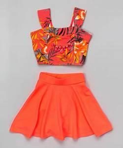 Just Kids Neon Coral Floral Crop Top Set Girls