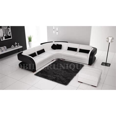 canapé noir et blanc pas cher canapé d 39 angle cuir blanc et noir design pas cher achat