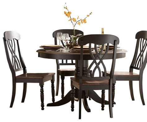 HD wallpapers 5 piece round antique white and warm cherry dining table set
