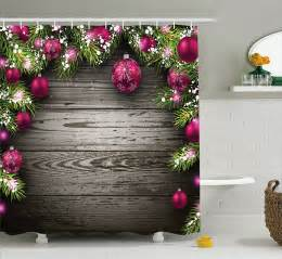christmas shower curtain rustic balls branch bathroom