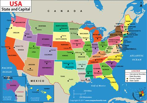 states  capitals map  travel information