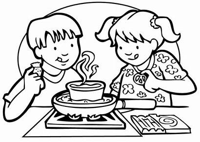 Cooking Clipart Colouring Clip Coloring Class Pages