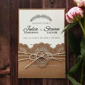 country style invitation with lace and twine pocket card With country style wedding invitations uk
