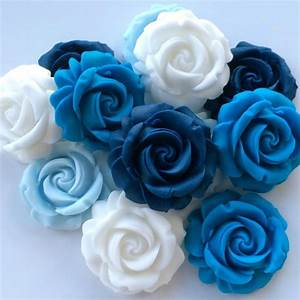 12 BLUE & WHITE ROSES Edible Sugar Paste Flowers Wedding ...