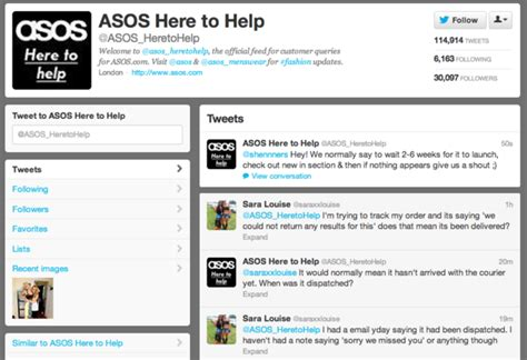 asos phone number on trend fashion brands and social media econsultancy
