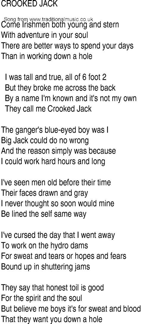 Irish Music, Song and Ballad Lyrics for: Crooked Jack