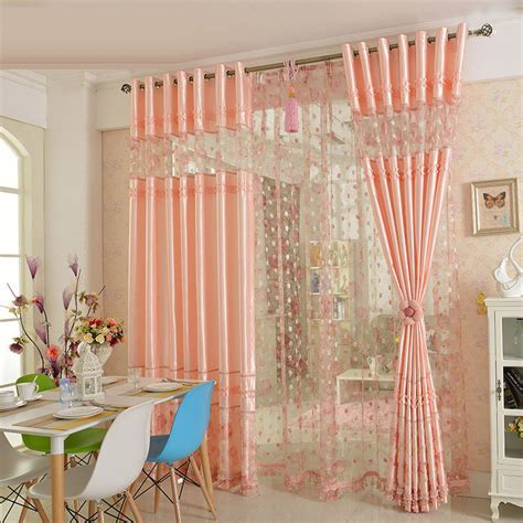 Pink Floral Lace Princess Beautiful Room Divider Curtains for Girls Bedroom