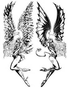 Angel and Demon Tattoo Designs Drawings
