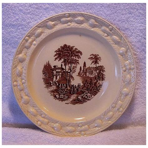 wonderful staffordshire cabinet plate brown scenic transfer adam timber hills antiques