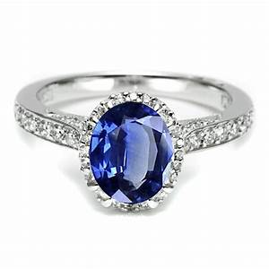 Platinum sapphire diamond tacori engagement ring just for Sapphire and diamond wedding rings