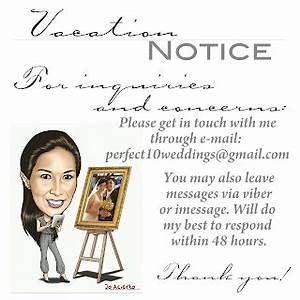 Darlene Tan - Salazar: Vacation Notice
