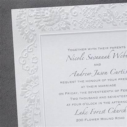 Embossed Invitations Border Lace Invitation Square Font