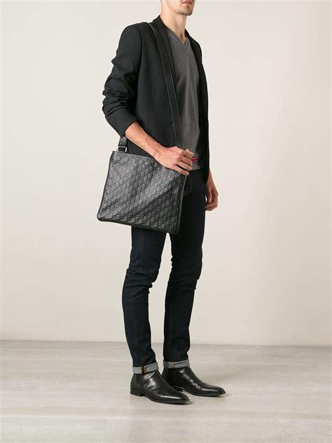 gucci monogram messenger bag  black  men lyst