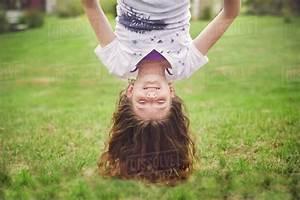 Caucasian, Girl, Hanging, Upside, Down, In, Backyard