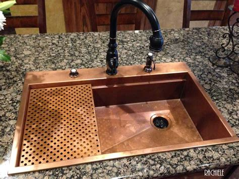 copper kitchen sink drop in or top mount custom copper sinks made in florida 2581