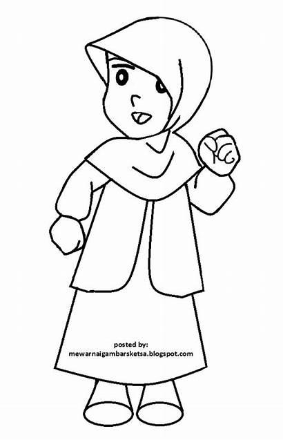 Mewarnai Gambar Hitam Kartun Berhijab Gadis Anak