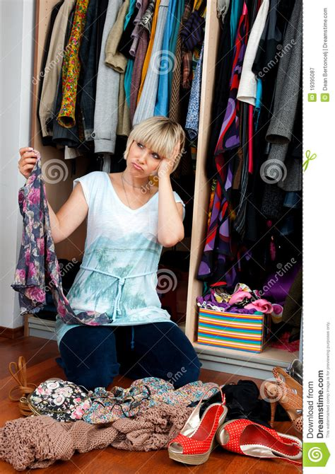 woman choosing clothes royalty  stock photography