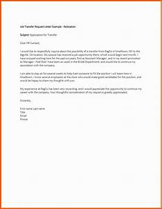 sample letter request for transfer to another location With cover letter for internal job transfer
