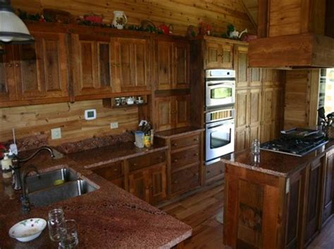 Rustic Barn Wood Kitchen Cabinets, Distressed Country Design. Blue And Gray Rug. Tile Living Room Floors. Microwave Under Cabinet. Resource Building Materials. Exposed Rafter Tails. Covered Back Patio. Modern Coat Hooks. Cherry Blossom Pink