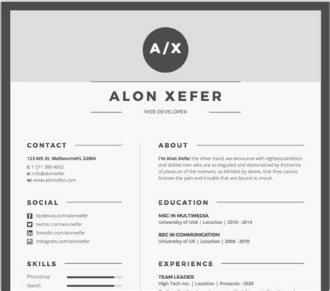 Free Modern Resume Templates For Word by 50 Free Microsoft Word Resume Templates Updated October 2019