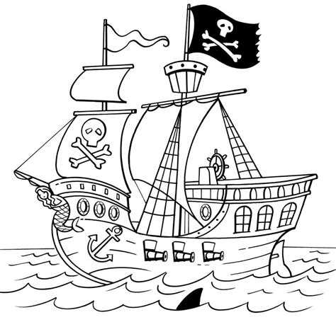 Pirate Ship Coloring Page by Simple Pirate Ship Drawing Sketch Coloring Page