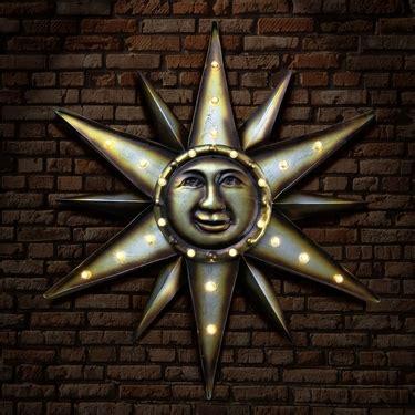 solar metal marquee sun wall art    garden fun
