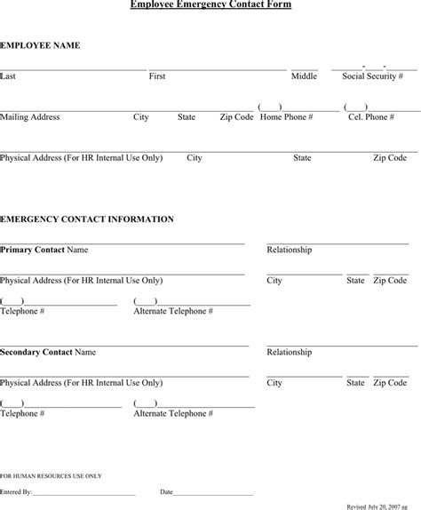 employee emergency contact forms word excel fomats