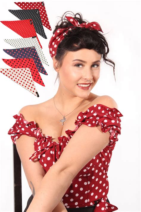 50s Polka Dots Rockabilly Pin Up Tuch Punkte Bandana Haarband