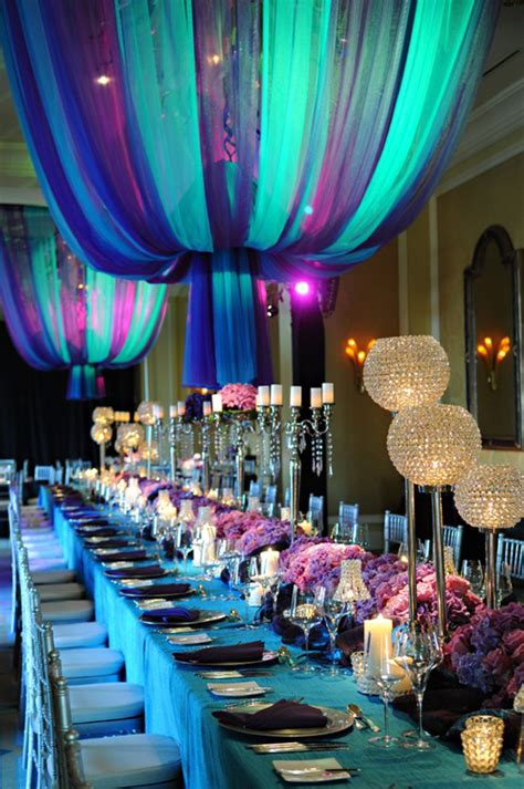 luxe purple and turquoise reception the merry bride