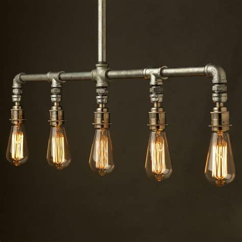 galvanized pipe light fixtures vintage galvanised plumbing pipe chandelier light