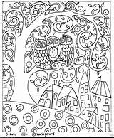 Primitive Hooking Rug Folk Karla Gerard Coloring Pages Floral sketch template