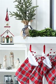 red white and black plaid christmas decor