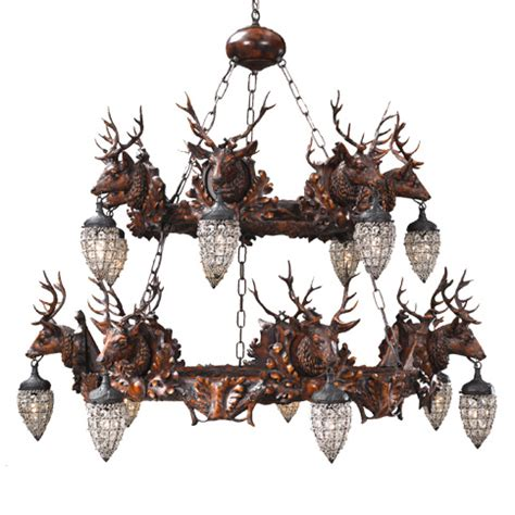 stag and globe two tier chandelier