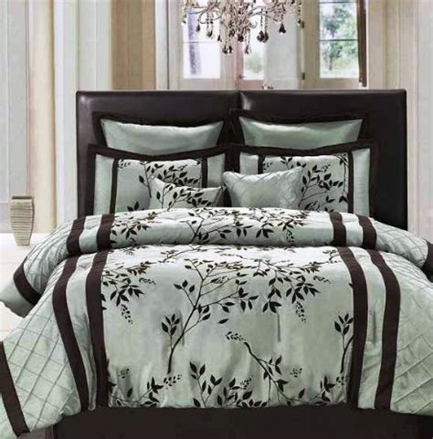 cheap 8 pc elegant aqua blue and chocolate brown floral flocking comforter set que twin