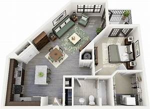 50 one 1 bedroom apartment house plans studio With 1bed room 3d home plan