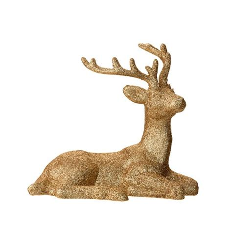 gold glitter reindeer by sainsbury s gold and jewels