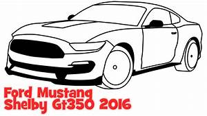 How to draw a car Ford Mustang Shelby GT350 2016 step by step easy sportcar - YouTube