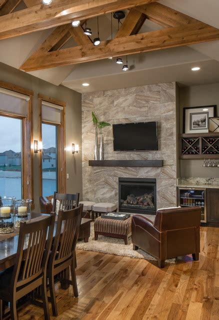 rustic modern lake house transitional living room