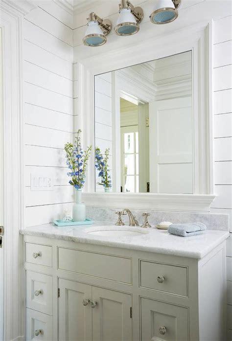 gray scallop trim  gray sink vanity cottage bathroom